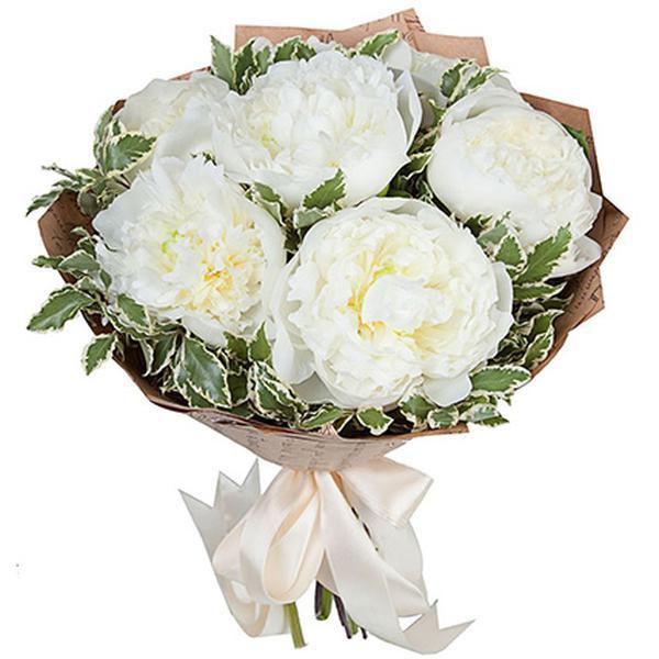 Цветы, букет из белых пионов купить москва