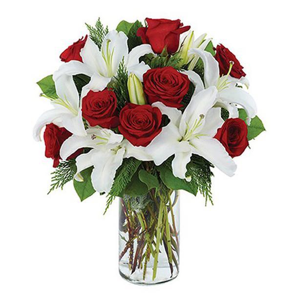 Стоимость букет из белых лилий и красных роз, букет