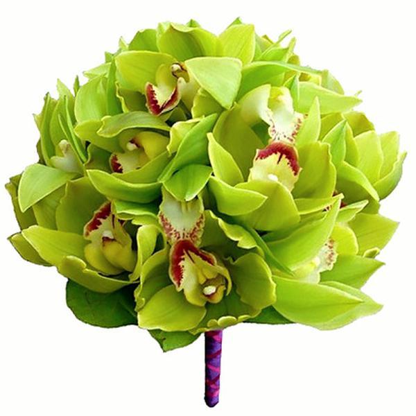 Букет капля, маленькие свадебные букеты из зеленой орхидеи