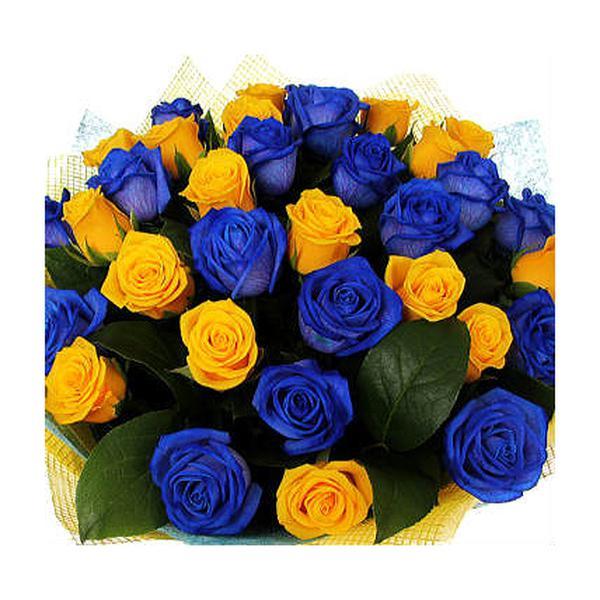 Открытка синяя с днем рождения, розами надписями